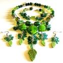 Zöld vágy - szett AKCIÓ!, Ékszer, Ékszerszett, Nyaklánc, Méretes, kézzel készült  lámpagyöngyökből és üveg gyöngyökből készítettem a szettet harsogó zöld szí..., Meska