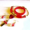 Piros szívesség - szett AKCIÓ!, Ékszer, óra, Ékszerszett, Nyaklánc,  Kis piros ékszercsomag, a nyakék medálrésze egy kézzel készült lámpagyöngy, hossza 49 cm.  Hozzá il..., Meska
