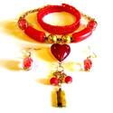 Piros szívesség - szett AKCIÓ!, Ékszer, Ékszerszett, Nyaklánc,  Kis piros ékszercsomag, a nyakék medálrésze egy kézzel készült lámpagyöngy, hossza 49 cm.  Hozzá il..., Meska