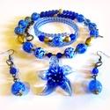 Kékfestő csillag - szett AKCIÓ!, Ékszer, óra, Nyaklánc, Ékszerszett,  Különleges, kézzel készült lámpagyöngyök, és egy tengeri csillag lámpagyöngy medál Velencéből.  A l..., Meska