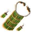 Jazz-zöld szett csak úgy AKCIÓ!, Ékszer, Nyaklánc,  Hipszter stílusú nyaklánc zöld akril pálca gyöngyökkel, egyszínű felsőhöz, minden alkalo..., Meska