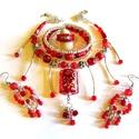 Cseresznyeszín csomag - AKCIÓ!, Ékszer, Ékszerszett, Nyaklánc, Fülbevaló, Csupa piros-ezüst ékszer, ötrészes ékszercsomag. :)  Extravagáns nyakék lámpagyöngy medálrésszel, me..., Meska