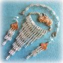 Jégkirálynő - szett , Ékszer, Esküvő, Ékszerszett, Nyaklánc,  Csillogó üveg kockákból készítettem a négy részes szettet zuhatag nyaklánccal.  A lánc hossza 46 cm..., Meska