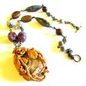 Arany tavasz - nyaklánc AKCIÓ!, Ékszer, Medál, Nyaklánc,  Méretes képjáspis medál kő medál, a foglalatot magam készítettem Fimo ékszergyurmából.  5 színes ci..., Meska