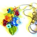Vénusz csokra - medál AKCIÓ!,  Cseh üveg virágokból készült színpompás me...