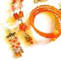 Narancsvidék - szett BOLTZÁRÁS! AKCIÓ!, Ékszer, Ékszerszett, Nyaklánc,  Narancssárga üveg gyöngyök, és apró, szikrázó osztrák kristályok.   Négyrészes ékszercsomag.  A lán..., Meska