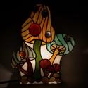 Gomba, Baba-mama-gyerek, Otthon, lakberendezés, Gyerekszoba, Lámpa, Üvegművészet, Ólomüveg lámpa, tükör hátlappal  Egyedi tervezésű ólomüveg lámpa, mintája és összeállítása eltér a ..., Meska