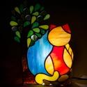 Cica, Húsvéti díszek, Baba-mama-gyerek, Otthon, lakberendezés, Lámpa, Üvegművészet, Ólomüveg lámpa, tükör hátlappal  Egyedi tervezésű ólomüveg lámpa, mintája és összeállítása eltér a ..., Meska