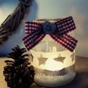 Vintage mécsestartó csillag mintával, Dekoráció, Ünnepi dekoráció, Karácsonyi, adventi apróságok, Karácsonyi dekoráció, Opálozással készített és festett faszívvel dekorált mécsestartó csillag mintával. , Meska