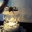 Vintage mécsestartó virágos mintával, Dekoráció, Ünnepi dekoráció, Karácsonyi, adventi apróságok, Karácsonyi dekoráció, Opálozással készített és festett faszívvel dekorált mécsestartó virágos mintával. , Meska