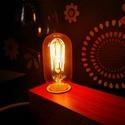 Egyedi fa lámpa Edison izzóval, Otthon, lakberendezés, Lámpa, Asztali lámpa, Hangulatlámpa, Festett tárgyak, Famegmunkálás, Egyedi készítésű fa asztali, éjjeli design lámpa. Hangulatos megjelenésével, retro stílusával a nap..., Meska