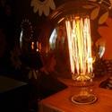 Egyedi fa lámpa Edison izzóval, Otthon, lakberendezés, Lámpa, Asztali lámpa, Hangulatlámpa, Festett tárgyak, Famegmunkálás, Egyedi készítésű kocka fa asztali, éjjeli design lámpa. Hangulatos megjelenésével, retro stílusával..., Meska
