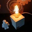 Kocka beton lámpa Edison izzóval, Otthon, lakberendezés, Lámpa, Asztali lámpa, Hangulatlámpa, Szobrászat, Kőfaragás, Egyedi beton kocka asztali lámpa, Edison izzóval. Meleg fényű izzóval, minimalista megjelenés, a be..., Meska
