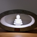 Beton ellipszis led lámpa, Otthon, lakberendezés, Lámpa, Asztali lámpa, Hangulatlámpa, Szobrászat, Kőfaragás, Egyedi ellipszis beton led-es lámpa, egyedi formájával, minimalista kialakításával a modern nappali..., Meska