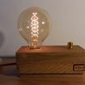 Egyedi tölgyfa dekor lámpa, fényerőszabályzós  , Otthon, lakberendezés, Lámpa, Hangulatlámpa, Famegmunkálás, Egyedi tölgyfából készült dekor lámpa, fényerő szabályzóval. A régmúlt idők hangulatát idéző Edison..., Meska