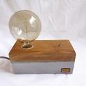 Beton- tölgyfa hangulatlámpa Edison izzóval , Otthon, lakberendezés, Lámpa, Hangulatlámpa, Famegmunkálás, Kőfaragás, Egyedi, betonból és tölgyfából készült dekor lámpa, billenő kapcsolóval. A régmúlt idők hangulatát ..., Meska