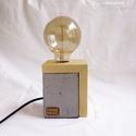Fa- beton lámpa Edison izzóval, Otthon, lakberendezés, Lámpa, Asztali lámpa, Hangulatlámpa, Szobrászat, Kőfaragás, Egyedi fa- beton asztali lámpa, Edison izzóval. Meleg fényű izzóval, minimalista megjelenés, a beto..., Meska