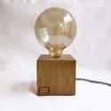 Kocka falámpa Edison izzóval, Otthon, lakberendezés, Lámpa, Asztali lámpa, Hangulatlámpa, Festett tárgyak, Famegmunkálás, Egyedi készítésű kocka fa asztali, éjjeli design lámpa. Hangulatos megjelenésével, retro stílusával..., Meska
