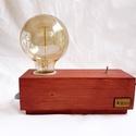 Hangulatlámpa Edison izzóval, Otthon, lakberendezés, Lámpa, Asztali lámpa, Hangulatlámpa, Festett tárgyak, Famegmunkálás, Egyedi készítésű fa asztali, éjjeli design lámpa. Hangulatos megjelenésével, retro stílusával a nap..., Meska