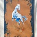 Ágaskodó fehér ló , Művészet, Festmény, Akril, Festészet, Akrill technikával készült festmény a hordozó farostlemez. Keret nélkül árulom. Méretei: 51 cm x 78..., Meska