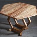 Hatszögletű tömörfa dohányzóasztal