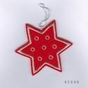 Piros - ezüst csillag dísz, Dekoráció, Ünnepi dekoráció, Karácsonyi, adventi apróságok, Karácsonyfadísz, Hímzés, Nemezelés, Saját tervezésű, egyedi hímzett filc csillag, dísz.  Mérete: 9,5 x 9,5 cm Ajándéknak, ajándékkísérő..., Meska