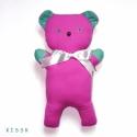 Pink Mackó türkiz fülekkel, Baba-mama-gyerek, Játék, Plüssállat, rongyjáték, Gyerekszoba, Baba-és bábkészítés, Varrás, 39 cm magas, egyedi, textilből varrt mackó. Lapos formája, puhasága ideális alvó-társsá teszi. Szem..., Meska
