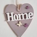 Szív alakú ajtódísz HOME felirattal, Dekoráció, Otthon, lakberendezés, Ajtódísz, kopogtató, Famegmunkálás, Festett tárgyak, Az ajtódíszt vintage stílusban készítettem el, mely szép dísze lehet otthonodnak.   Mérete:20*16 cm , Meska