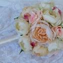 Bazsarósa menyasszonyi csokor, Esküvő, Esküvői dekoráció, Esküvői csokor, Virágkötés, Ha te is szereted a bazsarózsát, és a menyegződön szívesen vonulnál oltárhoz egy csodaszép, élethű,..., Meska