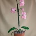 Horgolt orchidea, Dekoráció, Dísz, Horgolás, Az orchidea magassága cseréptől az utolsó bimbóig 50cm. Sajnos az élő orchidea virág nálam nem mara..., Meska