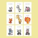 Babaszoba falikép, dekoráció, print szett - állatos; mosómedve, elefánt, róka, zsiráf, oroszlán, pandamaci.. - 3db A4-es, Baba-mama-gyerek, Otthon, lakberendezés, Gyerekszoba, Baba falikép, Fotó, grafika, rajz, illusztráció, Válogasd össze a neked tetsző állatokat!   3db állatos grafika faliképnek a babaszobába, vagy a pol..., Meska