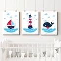 Babaszoba falikép, dekoráció, print, grafika - tenger - 3db A4-es, 3db tengerészes grafika faliképnek a babaszobáb...