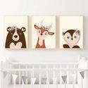 Babaszoba falikép, dekoráció, print, grafika - virágos állatok; medve, szarvas, bagoly - 3db A4-es, Baba-mama-gyerek, Dekoráció, Gyerekszoba, Baba falikép, Fotó, grafika, rajz, illusztráció, Hódítanak a virágos állatok!  3db virágos állatos grafika faliképnek a babaszobába, gyerekszobába. ..., Meska
