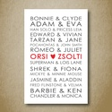 Esküvői képeslap, falikép, dekoráció, print, pénzátadó képeslap személyre szabottan, kísérő kártya, nászajándék, Személyre szabott szerelmespáros esküvői képe...