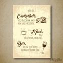 Konyha dekoráció, falikép, print, konyhai szabályok - sárga, barna, kávé, bor, csoki - 1db A4-es, Kedves dekoráció a konyhába csoki, kávé és b...