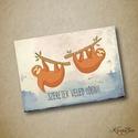 Valentin-napi képeslap - lajháros - 1 db A6-os, Naptár, képeslap, album, Férfiaknak, Szerelmeseknek, Képeslap, levélpapír, Valentin-napi képeslap, nem csak szerelmeseknek, két aranyos lógó lajhárral : ).  A képeslap A..., Meska