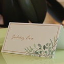 """Esküvői dekoráció - ültetőkártya, név kártya - greenery - zöld leveles -modern, elegáns - sátras - 9,4 x 5,0 cm, """"Nemes egyszerűség, csendes nagyság"""" jut eszemb..."""