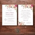 Esküvői meghívó - vintage, greenery -  virágos,, rózsás, természet közeli - mályva, barackvirág, rózsaszín - 10x14cm, Romantikus virágos, rózsás esküvői meghívó....