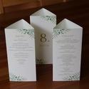 """Esküvői dekoráció - menükártya, asztalszám - háromszög - greenery - zöld leveles -modern, elegáns - 20 x 9,4 cm, """"Nemes egyszerűség, csendes nagyság"""" jut eszemb..."""