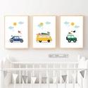 Autós babaszoba falikép, dekoráció, print, grafika szett - autó, busz, terepjáró, felhő, nap - 3db A4-es, Autós falikép szett, felhőkkel napocskával.  I...