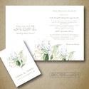 Greenery esküvői meghívó - téli meghívó - zöld arany kék - virágos, zöld leveles - elegáns esküvői meghívó - 10x14cm, Gyönyörű téli meghívót készítettem Emma é...