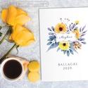 Ballagási meghívó - sárga kék - virágos leveles -10x14cm hajtva, Ez a meghívó kifejezetten ballagásra készült....