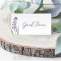Esküvői dekoráció - ültetőkártya, név kártya - levendulás greenery vintage rusztikus - sátras - 9,4 x 5,0 cm, Ez levendulás ültető kártya tökéletesen illi...