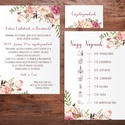 Mályva esküvői meghívó - rózsaszín barackvirág - természetes meghívó - romantikus rózsás - program idővonallal - 10x14cm, Sokak kedvence ez a romantikus virágos, rózsás ...