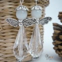 Angyalka fülbevaló, kristály-fehér, Angyalka fülbevalóim karácsonyra készültek, d...