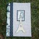 Helló Párizs! - jegyzetfüzet, Naptár, képeslap, album, Jegyzetfüzet, napló, Varrás, Kétféle lenvászon anyagot használtam ehhez a füzetborítóhoz. Fekete pöttyös szalaggal és applikált ..., Meska