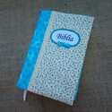Kék virágos Bibliaborító, Minőségi amerikai pamutvászon anyagokból kész...