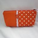 Narancsszínű pöttyös neszesszer, Egyszínű és pöttyös minőségi pamutvászon a...