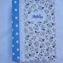 Bibliaborító - pöttyös, virágos, Kék alapon fehér pöttyös és fehér alapon ké...