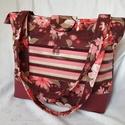 Virágos válltáska, Táska, Divat & Szépség, Táska, Válltáska, oldaltáska, Varrás, Designer pamutvászon és textilbőr felhasználásával készítettem ezt a táskát. Füle 70 cm hosszú. Szé..., Meska